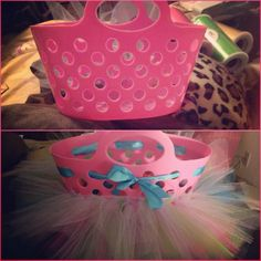 Tutu Tulle Easter Basket   Dollar tree basket and tulle makes a super cute Easter basket can't wait for my daughter to use this for her first Easter :-)