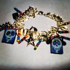 DiY Dia De Los Muertos Adjustable   Charm Silver Bracelet