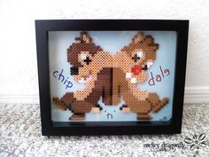 Chip and Dale Frame ! Perler Bead Creation by: RockerDragonfly Fun Crafts, Arts And Crafts, Apple Model, Chip And Dale, Pearler Beads, Disney Crafts, The Little Mermaid, Beading Patterns, Craft Stores