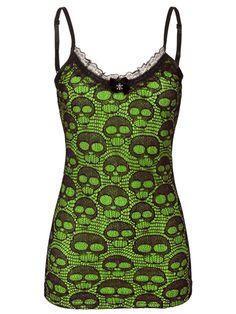 """Women's """"Skull Lace"""" Neon Tank by Jawbreaker (Green)"""