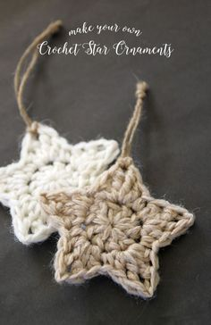 simple crochet star Christmas ornaments - free pattern                                                                                                                                                                                 More