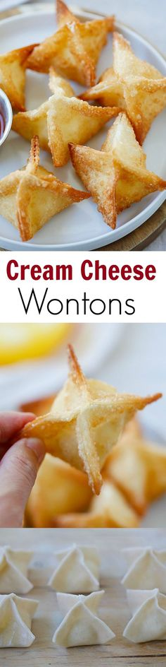 best, easiest & super crispy crab rangoon or cream cheese wonton recipe EVER. Great recipe for a party.The best, easiest & super crispy crab rangoon or cream cheese wonton recipe EVER. Great recipe for a party. Wonton Recipes, Appetizer Recipes, Seafood Appetizers, Cheese Recipes, Seafood Recipes, Cheese Snacks, Italian Appetizers, Cheese Party, Party Appetizers
