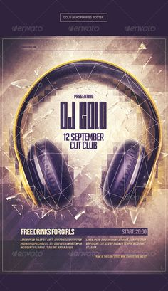Gold Headphones Party Poster Template PSD | Buy and Download: http://graphicriver.net/item/gold-headphones-party-poster/8405364?WT.ac=category_thumb&WT.z_author=lazyland&ref=ksioks