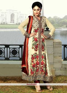 Cream Embroidered Kalidar Suit