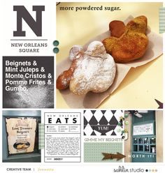 Disney New Orleans Square Food Beignet digital scrapbooking layout using Project Mouse (New Orleans): Elements by Britt-ish Designs and Sahlin Studio