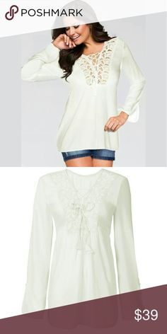 Chiffon and Lace Top Long Sleeve Chiffon and Lace Top  This is NWOT Retail Price Firm Unless Bundled.  Measurements Available Upon Request. Tops Button Down Shirts