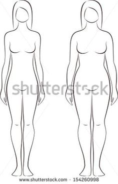 Blank Paper Doll Template | Vector illustration of female figure. Different body types. Silhouette ...