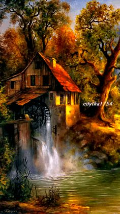 Download Animated 360x640 «old mill» Cell Phone Wallpaper. Category: Nature
