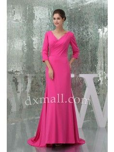Sheath/Column Mother Of The Bride Dresses V-neck Court Train Satin Pink 12001040003