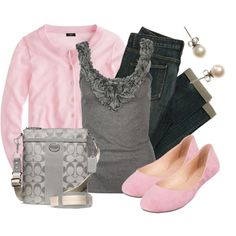 """Pink & Grey"" by qtpiekelso on Polyvore"