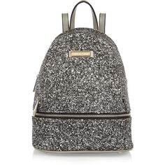 River Island Silver glitter mini backpack ($52) ❤ liked on Polyvore featuring bags, backpacks, bags / purses, silver, women, top handle bags, day pack backpack, silver backpack, silver bag and river island