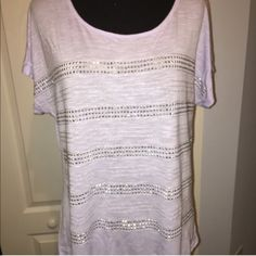 💜Lavender top w/ silver studs & silver threading EUC Lavender top with rows of silver studs divided by silver threading lines between. Pretty top to pair with a cute pair of shorts for summer. Slightly curved hem. Really Pretty!! Apt. 9 Tops Tees - Short Sleeve