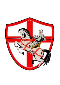 Retro Kunst, Retro Art, English Knights, St Georges Day, Knight In Shining Armor, Logo Design, Graphic Design, Saint George, New Media
