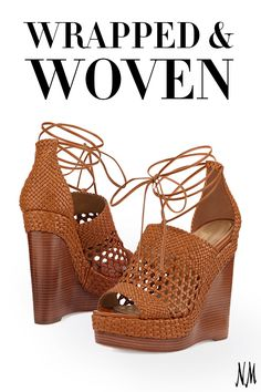 Woven leather takes the stage this summer as a daytime shoe must-have. This Michael Kors Collection wedge sandal is the perfect addition to any maxi dress.