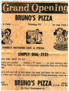Bruno's Pizza, first pizza restaurant in West Lafayette, Indiana. This is where I had my first pizza, many, many years ago.