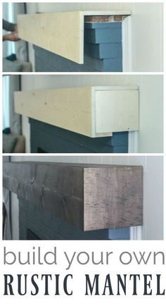 Learn how to build a simple diy fireplace mantel. This rustic fireplace mantel h… Learn how to build a simple diy fireplace mantel. This rustic fireplace mantel has the charm of reclaimed wood but is inexpensive and easy to make. Rustic Fireplace Mantels, Fireplace Redo, Fireplace Design, Diy Mantel, Reclaimed Wood Fireplace, Fireplace Diy Makeover, Fireplace Ideas, Brick Fireplace Remodel, Pallet Fireplace