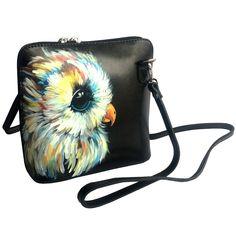 Owl tote bag Black painted shoulder bag Leather casual handbag women Small messenger bag Urban girl zipper purse Girlfriend birthday gift