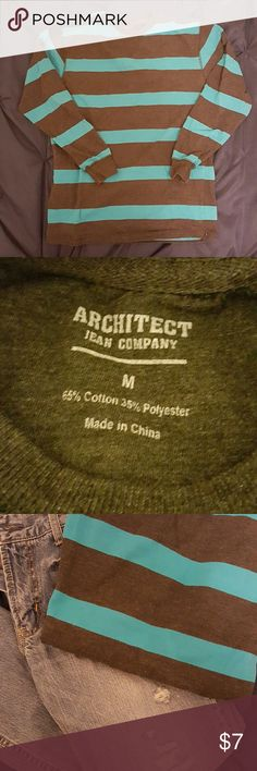 ARCHITECT Mens aqua & gray striped shirt Size medium. Gently used. Architect  Shirts Tees - Long Sleeve