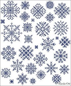 Free cross-stitch patterns, Inimitable Snowflakes, snowflake, winter, Christmas, cross-stitch, back stitch, cross-stitch scheme, free patter...