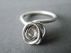 Sterling Silver Ring Abstract Rose Ring Minimalist by SteamyLab, $40.00