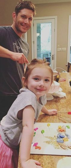 Jensen and J.J. making Danneel's Birthday cake. This is so pure and cute. His child is an adorable bean.