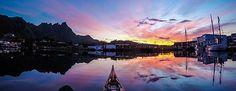 Heaven on fire in Hattvika Bay #HattvikaLodge #Lofoten #Norway #AdventureTourism