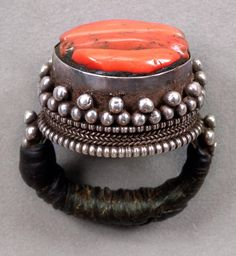 Tibet, silver and coral ring