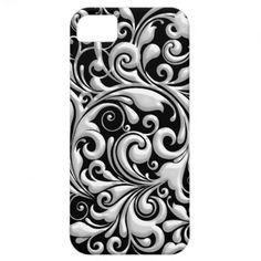 I PHONE 5 Cover SILVER   BLACK  DESIGNER LOOK iPhone 5 Cases
