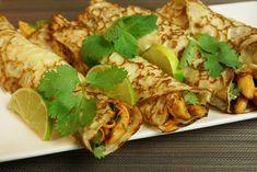 Crêpes thaï au lait de coco et poulet mariné au citron vert - HerveCuisine.com