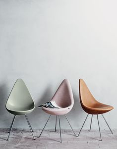 Danish design chair by Arne Jacobsen 1958 in new beautiful fabric and leather colours.