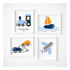 Transportation Travel Nursery Art Print Set Train Airplane