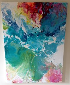 Submerged #2. Original Laura Adams Wilson painting. Abstract water painting. Fluid acrylic art. Floral abstract.