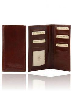TL140784 Exclusive leather 3 fold vertical wallet - Esclusivo portafoglio verticale in pelle uomo 2 ante