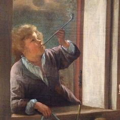 Detail of a boy smoking a clay pipe in Jan Steen's 1668 Merry Family at the @rijksmuseum. A negative example to the beholder. Don't act like this family. #jansteen #discoveringjansteen #Rijksmuseum #smoking #tobacco