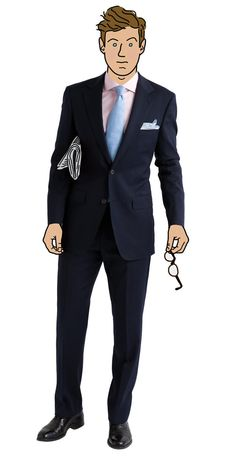 Navy suit, pink shirt, light blue tie