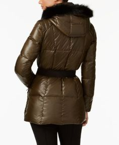 Andrew Marc Coyote-Fur-Trim Hooded Puffer Coat - Green XL