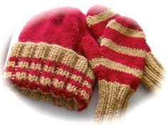 Child's Hat and Mittens Set Hand Knit Country Red and by lastrose, $14.50