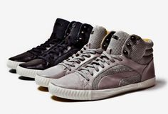 The Shoe Buff - Puma and Alexander McQueen team up for Spring/Summer 2012 a collection of sneakers braided upper, black and gray, the high top sneakers.