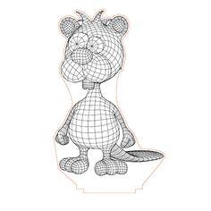 Beaver 3d illusion lamp plan vector file for CNC - 3bee-studio