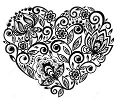Beautiful Lace Flowers Heart Tattoo Design