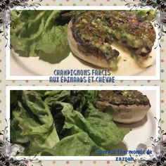 Champignons farcis aux échalotes, épinards et chèvre exquis au thermomix( cuisson au varoma+ grill ) ou sans robot