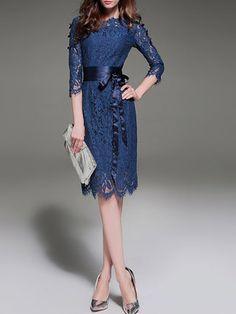 Royal Blue Elegant A-line Lace Crew Neck Midi Dress With Belt