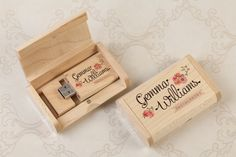Lovely wooden USB Stick presented in a printed wooden USB Gift Box - fantastic way to present the happy couple with their photos. #USB #Wedding