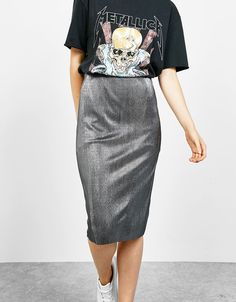 Shiny pleated midi skirt. Discover this and many more items in Bershka with new products every week
