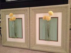 DIY wall decor, frame, wall hanging, flowers, bottle