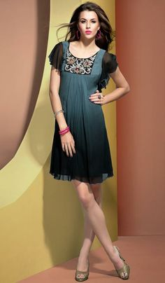 G3 Fashions Dark grey georgette designer kurti  Product Code: G3-LKT300742 Price: INR RS 2805