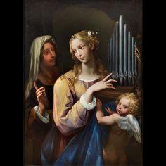 Santa Cecilia con l'organo portatile, un'altra santa e un putto