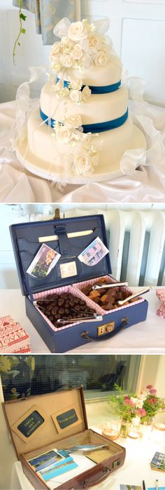 Travel theme guest book and chocolate