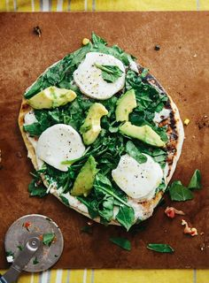 White Pizza with Avocado, Spinach & Mozzarella