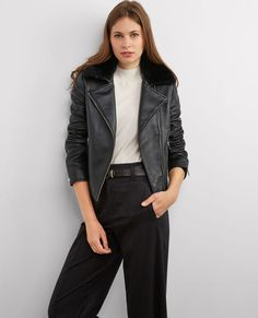 Leather biker with removable collar
